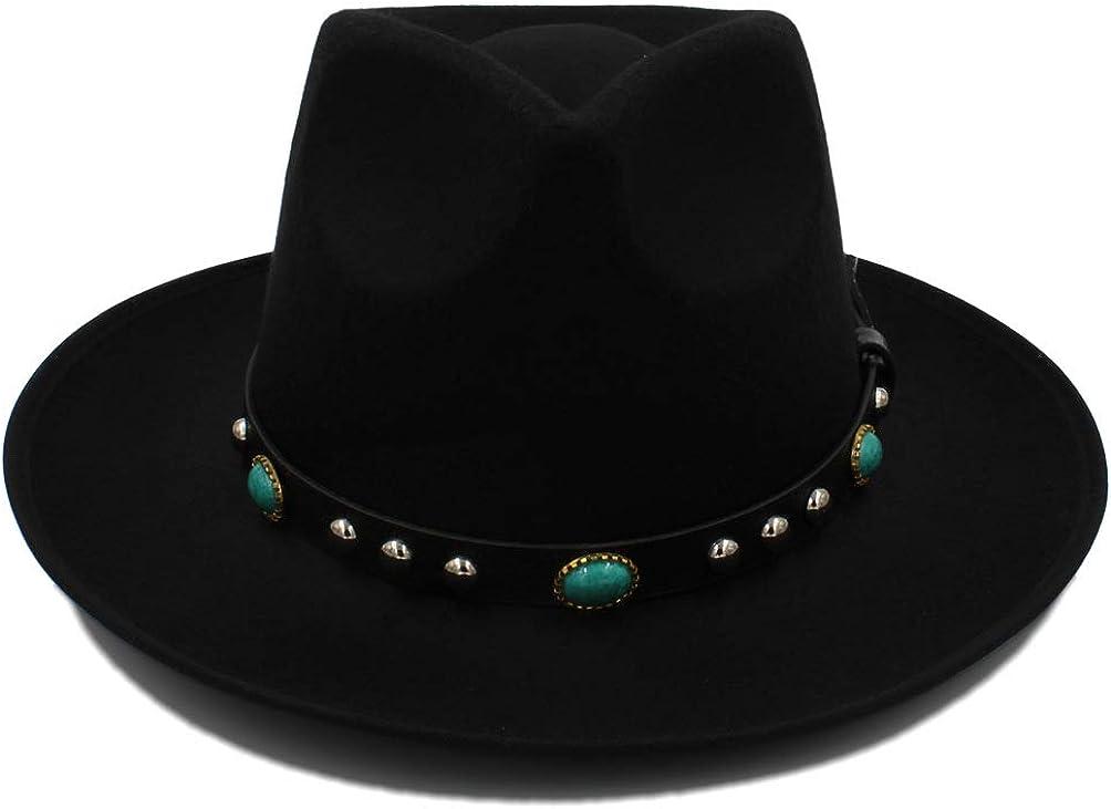 Women's Autumn Winter Fedora Hat Wide-Brimmed Metal Strap Felt Panama Hat Vintage Caps Chapeau Femme Style