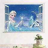 TMEET Cartoon ELSAAnna Prinzessin Wandaufkleber, Mädchenzimmer Dekoration DIY Anime Wandbild Kunst Gefrorenmovie Poster Kinder Wandtattoo, Zypa14126