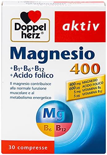 Magnesio 400 mg + acido folico + vitamina B1 + B6 + B12 - Magnesio per i muscoli, il sistema nervoso e il metabolismo energetico - 1 x 30 compresse