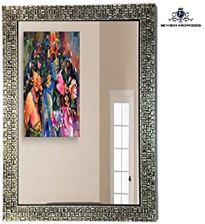 SEVEN HORSES Synthetic Wood Wall Mirror (Black_15 X 21 Inch)
