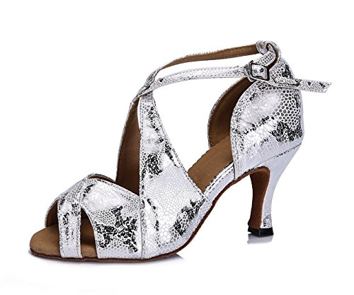 URVIP Nowości damskie buty ze sztucznej skóry poliuretanowej, buty do tańca LD096, srebrny - srebro - 34 2/3 EU
