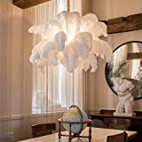 Modern Large Feather Pendant Light,Creative Art Chandelier with Ostrich Hair Lampshade,Luxury Decorative Pendant Lamp for Bedroom Kitchen Restaurant Living White Diameter120cm(47inch)