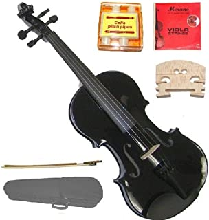 GRACE 12 inch Black Student Viola with Case, Bow+2 Sets Merano Brand Strings+2 Bridges+Pitch Pipe+Rosin