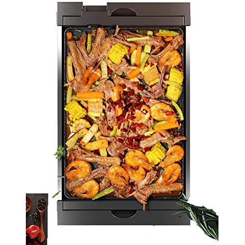 JGSDHIEU Elektrische tapanyaki-barbecue, keramische coating met groot oppervlak, eenvoudig te reinigen, platte grillplaat Hot Pot Multi-Cooker Teppanyaki-BBQ-Grill