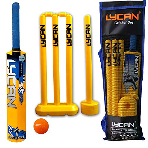 LYCAN Beast PVC Cricket Bat Kit for All Age Groups (2 Number for Age 6-7 Year; Yellow)