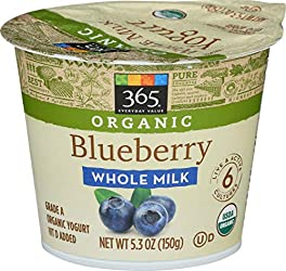 365 Everyday Value, Organic Whole Milk Yogurt, Blueberry, 5.3 oz