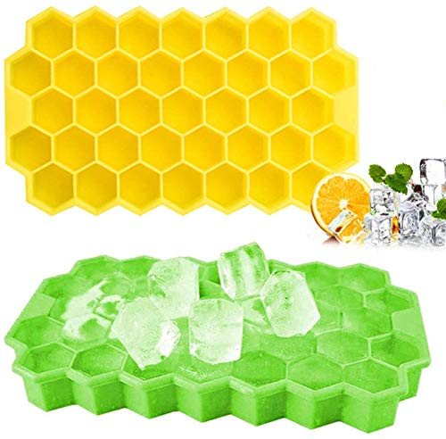 Ice Cube Trays 2Pack, Beyond Honeycomb Ice Cube Molds with Flexible Removable Lid, Stackable BPA Free Silicone Ice Cube Maker,...