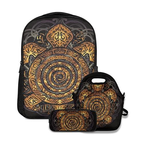 Conjunto de mochila escolar,Tatuaje de tortuga marina tribal dorada polinesia en el caparazón sobre un fondo negro,con bolsa de almuerzo y estuche para lápices para mochila para adolescentes