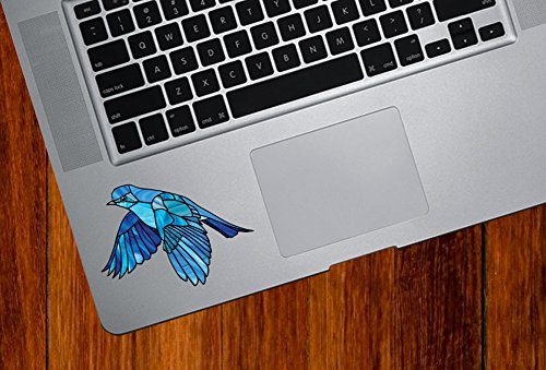 Bird - Bluebird in Flight - Stained Glass Style Opaque Vinyl Tablet Trackpad Keyboard Decal - Copyright 2015 (SM 3.25