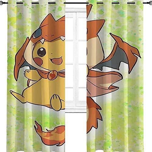 """Pokémon Manga Anime TV Film Cartoon Personnage Petit Châle Flying Dragon Shawl Room Obscurcissement Isolé Rideaux Imprimer Chambre d'enfant Décoration de Fenêtre pour salle à manger Chambre, Polyester, multicolore, 2 panel(21""""W x 45""""L W53cmxL114cm)"""