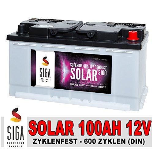 SIGA IMPULSIVE DYNAMIK Solarbatterie 100Ah Versorgungsbatterie Wohnmobil Boots Batterie S100