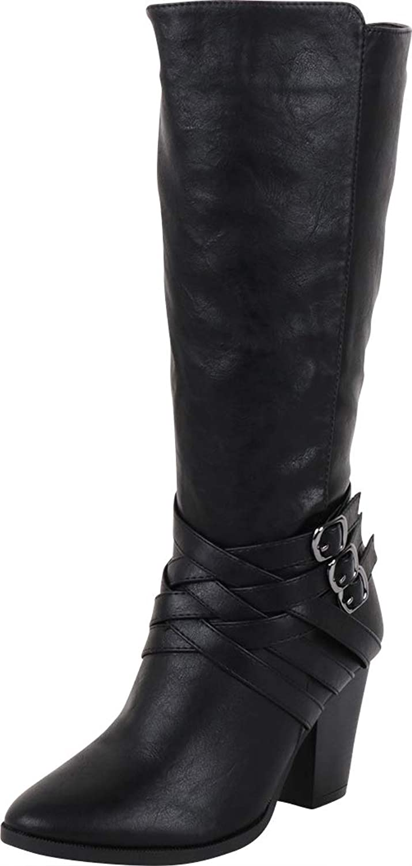 Cambridge Select Women's Crisscross Lattice Strappy Buckle Chunky Stacked Heel Mid-Calf Boot