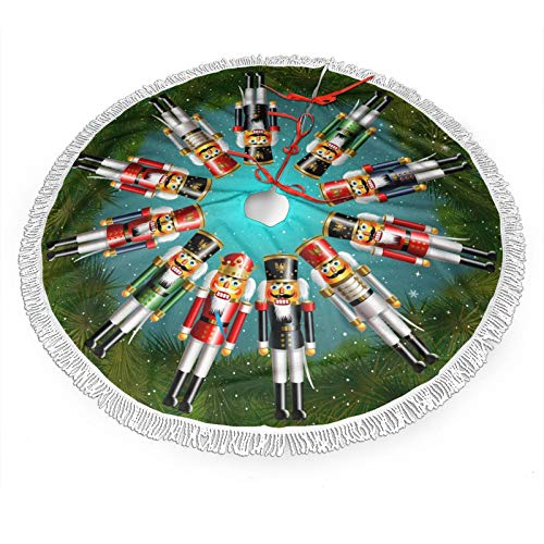 FREEHOTU Nutcracker Toy Soldiers King Christmas Tree Skirt Gorgeous Edge Tassel Lace for 30