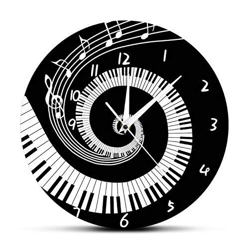 Teclas de Piano Elegantes Reloj de Pared Moderno en Blanco y Negro Notas Musicales Ola Teclado Musical Redondo Reloj de Pared Amante de la música Regalo de Pianista