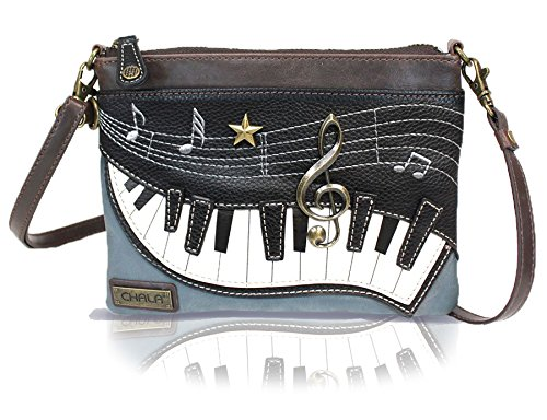 Chala Mini Crossbody Handbag, Multi Zipper, Pu Leather, Small Shoulder Purse Adjustable Strap - Piano Keys - Indigo