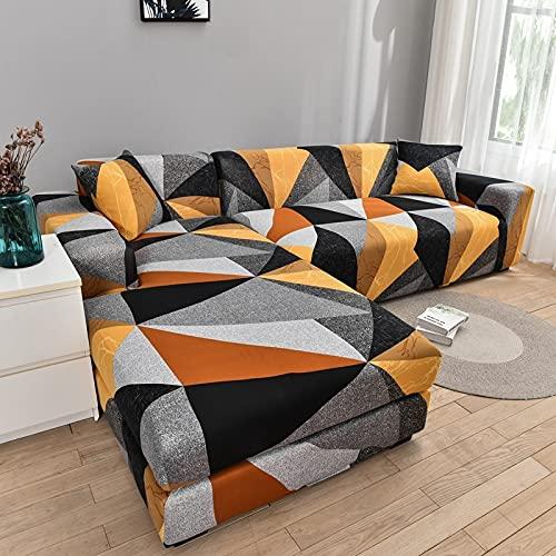 PPOS L shapecorner Funda de sofá elástica para Sala de Estar Funda Impresa para Fundas de sofá Stretch A3 4 Asientos 235-300cm-1pc