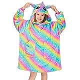 MHJY Unicorn Blanket Sweatshirt Oversized Hoodie for Kids Girls Soft Fleece Wearable Blanket with Pockets,8 Years,Rainbow