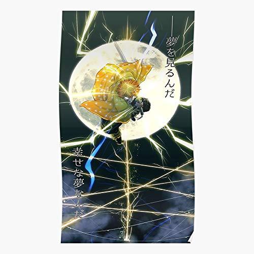 Demon Nezuko Zenitsu Slayer Hunter No Tanjiro Yaiba Kimetsu Kaminari Regalo para la decoración del hogar Wall Art Print Poster 11.7 x 16.5 inch