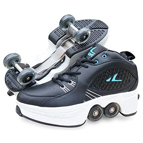 Zapatillas con Ruedas Botas De Cuatro Ruedas Ajustables Zapatos Patines Deportes Zapatos Cómodos Patines para Niños Y Niñas,41