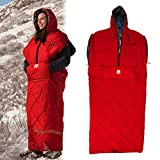 Gerry 4 Season Wearable Walk-Around Sleeping Bag with Zippers Hole for Arms and Feet -Perfect for Outdoor Activities, Hiking, Camping, Sleepover Red L-XL
