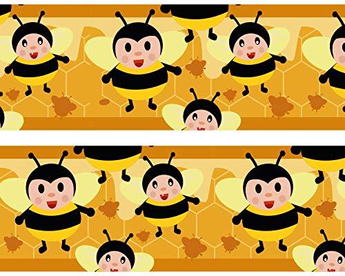 wandmotiv24 Bordüre Fleissige Bienchen 520cm Breite - Vlies Tapetenbordüre Borte Wandborde Borde Hummel Honig Imker BO098