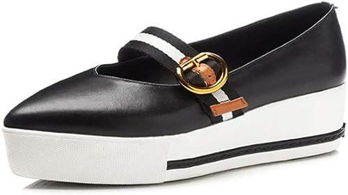 YAN Cuir Nouveau Printemps Chaussures Femmes Pointu Mocassins & Slip-Ons Mode Boucle Plate-Forme Chaussures Pont Chaussures compensées Chaussures Noires,noir,34