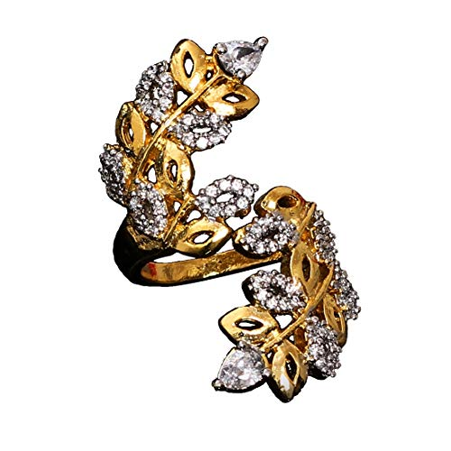 JewelryGift Ethnic Ring Pear Cubic Zircon White-Gold Intricately Handcrafted in 18K Gold Plated Hand Jewellery for Girls Ladies Women MSR 33-White