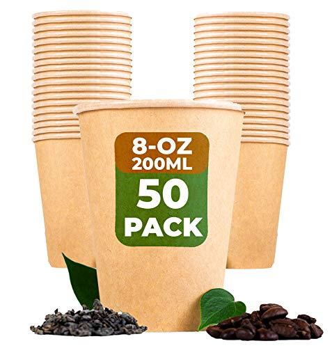 Beeleeve to-Go-Kaffee und Teebecher [50-Pack] Kompostierbar - Öko - Biologisch abbaubar - Einweg-Einwegbehälter für Büro, Party, Hochzeitsgetränke - Braunes Kraftpapier, PLA-Beschichtung(200ml/8oz)