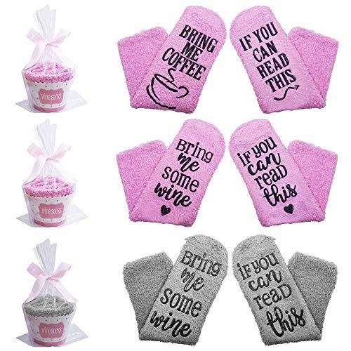SENHAI 3 Paar Socken mit 3 Cupcake-Geschenkverpackungen und Bändern, Lustiges Geschenk für Ältester, Freund und Liebhaber - If You Can Read This Bring Me Some Wine (Coffee)
