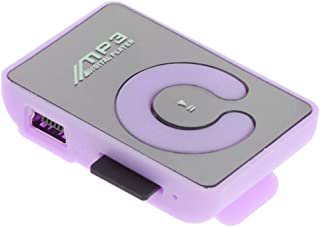 Prettyia Fashionable Mirror Clip HiFi MP3 Music Player SD TF with Cable and Earphone - Purple, 44x29x15mm