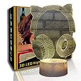 KangYD Auriculares 3D Luz nocturna Cat Ear, lámpara de ilusión LED, lámpara de reposo, A- Touch negra Base (7 colores), Regalo de cumpleaños, Regalo de Halloween