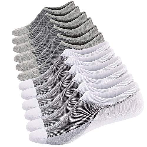 Ueither Calcetines Cortos Hombre Invisibles Respirable Calcetines tobilleros Algodón Antideslizantes (Tamaño: 38-44, Blanco/Gris (3 Pares Cada))