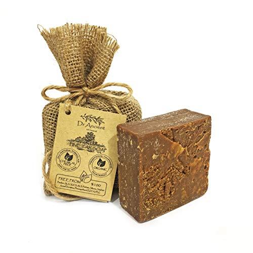 Organisch Natuurlijk Vegan Traditioneel Handgemaakt Antiek Zwarte Zeep Staaf Met Pijnboomteer - anti-schimmel, acne, eczeem, jeukende huid en cellulitis - Geen Chemicaliën, Pure Natuurlijke Zeep!