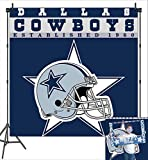 Blue Helmet Dallas Cowboys Photography Backdrop Vinyl 6x6ft NFL Football Photo Background for Children Boys Sports Birthday Party Banner Supplies Photo Booth Studio Props Decorations