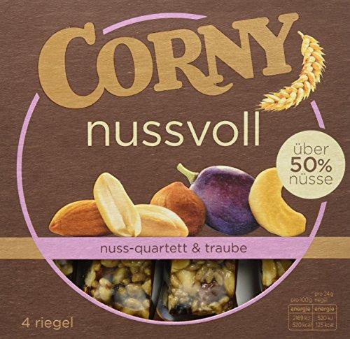 Corny Nussvoll Nuss-Quartett und Traube, Nussriegel mit über 40% Nüsse, 12er Pack (12 x 4 x 24g)