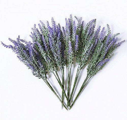 6 Bundles Purple Artificial Lavender Bouquet Flocked Plastic Lifelike Natural