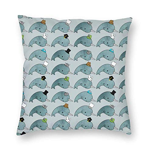 Luxury Throw Pillow Covers Narwhals with Hats Throw Pillow Cases Decorative Cushion Covers Pillowcases Soft Square Pillow Covers 18x18 Inch