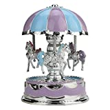 Brakites Music Box for Carousel, 3-Horse with LED Light Classic Decor, Great Merry Go Round Music Boxes for Girls Granddaughters Daughter Birthday Christmas Valentine (Purple)
