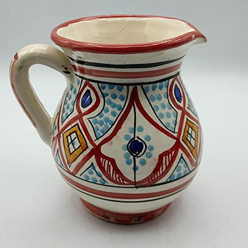 Decoración étnica Jarra cerámica terracota marroquí pintada a mano 0605211011