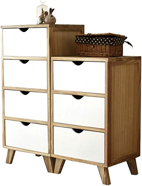 Carriemeow Bedside Locker Bedroom Drawers Solid Wood Drawer Storage Cabinet Size 2 Layers36X30X44cm