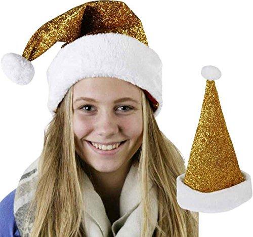 itsisa Weihnachtsmütze Glitzer, Gold - Nikolausmütze - Weihnachtsfeier