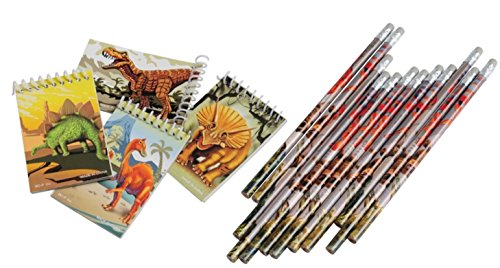 Nikki's Knick Knacks Dinosaur Themed Pencils and Notebooks - 24 Count Each