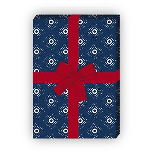 Kartenkaufrausch Indigo Cadeaupapier, klein patroon, set van 4 vellen, decoratief papier met ruiten, voor mooie geschenkverpakking, patroonpapier om te knutselen 32 x 48 cm