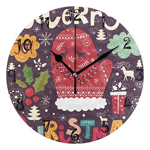 LDIYEU Arte De Sandía De Frutas Reloj de Pared Silencioso Decorativo Madera Vintage Relojs para Niños Niñas Cocina Dormitorio Hogar Oficina Escuela Decoración