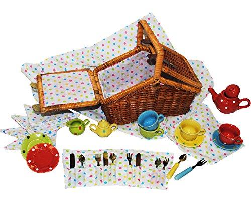 alles-meine.de GmbH 33 TLG. Set Picknick Korb / Puppengeschirr - mit Porzellan / Keramik Geschirr - Spiel Küche Zubehör Deko - für Kinder Mädchen & Jungen - gepunktet - Polka Dot..