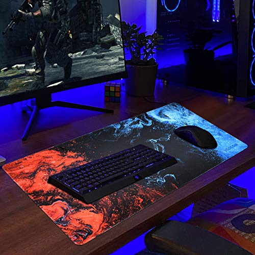 Gaming Mouse Pad, veecom Large Mouse Pad XL, Big Mouse Pad for Computer Gamer, Thick Gaming Mousepad Large 31.5×15.75In, Extended Keyboard Mouse Pads for Desk, Non Slip Mouse Mat (Blue) Photo #4