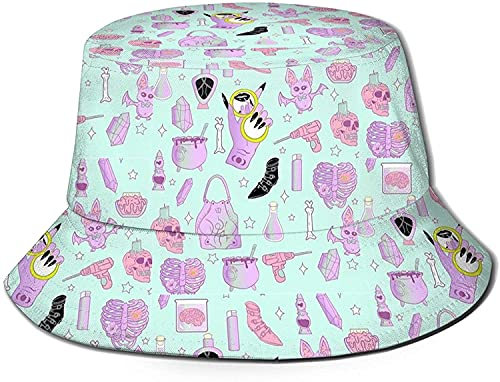 KEROTA Pastel-Goth Cool Summer Outdoor Sombreros de pescador Sombreros de pescador, gorra de sol al aire libre para niño negro