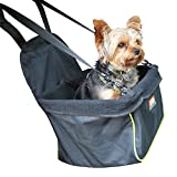 Animal Planet Puppy Booster Car Seat Cover for Small Dogs - Portable, Foldable, Collapsable Pet Car Carrier with Safety Leash - 12Lbs & Under - Black W. Green Trim