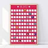 Gift Republic 100 Dates Bucket List Rubbelposter, Pink, A2