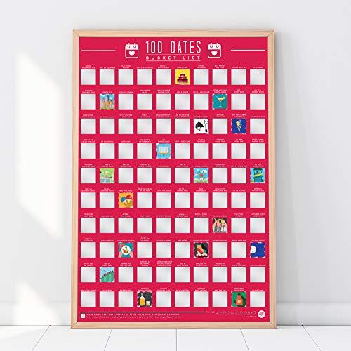 Gift Republic 100 Dates plakat do zdrapywania, różowy, A2